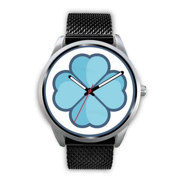 Lucky Clover Shamrock Symbol Custom-Designed Wrist Watch - Mens 40Mm / Black Metal Mesh - Silver Watch
