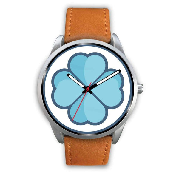 Lucky Clover Shamrock Symbol Custom-Designed Wrist Watch - Mens 40Mm / Brown Leather - Silver Watch