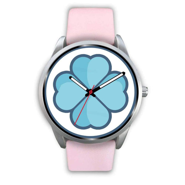 Lucky Clover Shamrock Symbol Custom-Designed Wrist Watch - Mens 40Mm / Pink Leather - Silver Watch