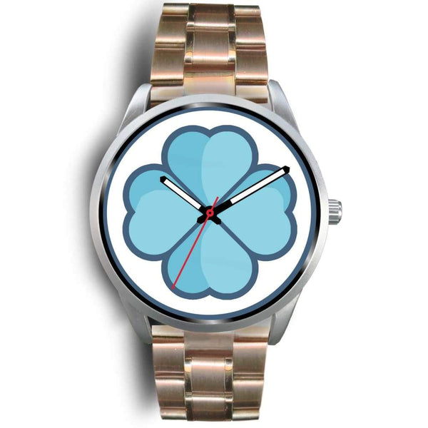 Lucky Clover Shamrock Symbol Custom-Designed Wrist Watch - Mens 40Mm / Rose Gold Metal Link - Silver Watch