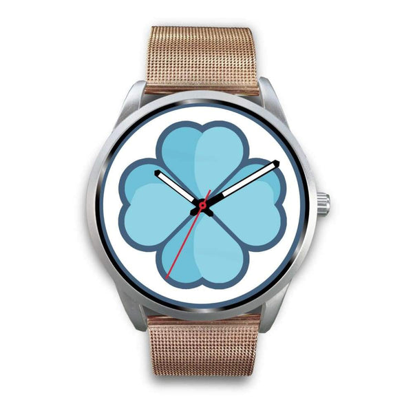 Lucky Clover Shamrock Symbol Custom-Designed Wrist Watch - Mens 40Mm / Rose Gold Metal Mesh - Silver Watch