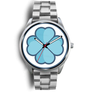 Lucky Clover Shamrock Symbol Custom-Designed Wrist Watch - Mens 40Mm / Silver Metal Link - Silver Watch