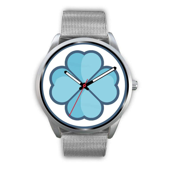 Lucky Clover Shamrock Symbol Custom-Designed Wrist Watch - Mens 40Mm / Silver Metal Mesh - Silver Watch