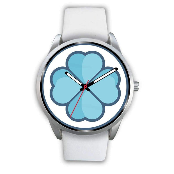 Lucky Clover Shamrock Symbol Custom-Designed Wrist Watch - Mens 40Mm / White Leather - Silver Watch