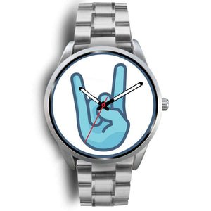 Mano Cornuto Itallian Ancient Greek Symbol Custom-Designed Wrist Watch - Mens 40Mm / Silver Metal Link - Silver Watch