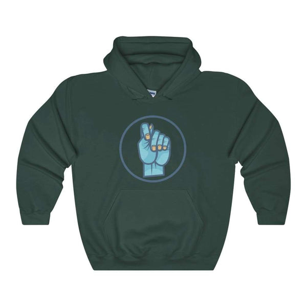 Mano Fico Ancient Greek Italian Gesture Symbol Unisex Heavy Blend Hooded Sweatshirt - Forest Green / S - Hoodie