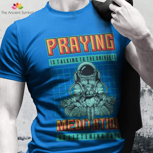 Meditation Is Listening To The Universe Yoga Pose Unisex Heavy Cotton Tee - T-Shirt