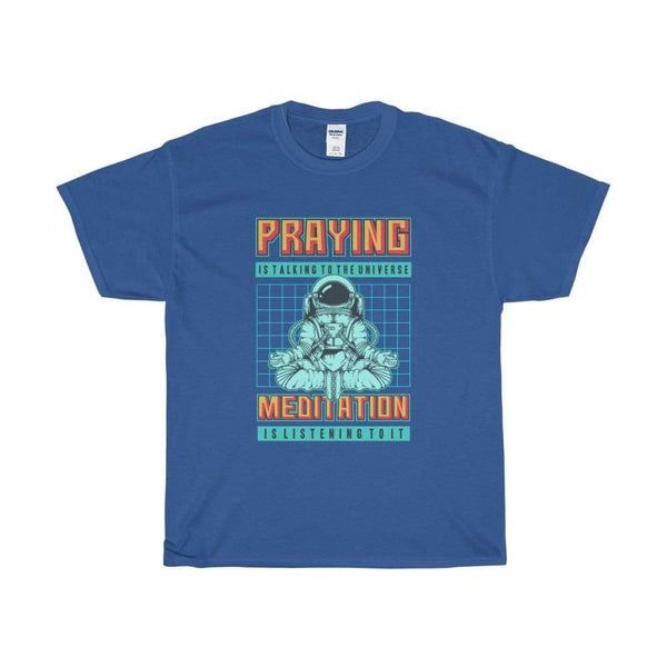 Meditation Is Listening To The Universe Yoga Pose Unisex Heavy Cotton Tee - Royal / S - T-Shirt