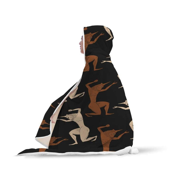 Minotaur Ancient Greek Beast Pattern Hooded Snuggle Meditation Blanket - Hooded Blanket