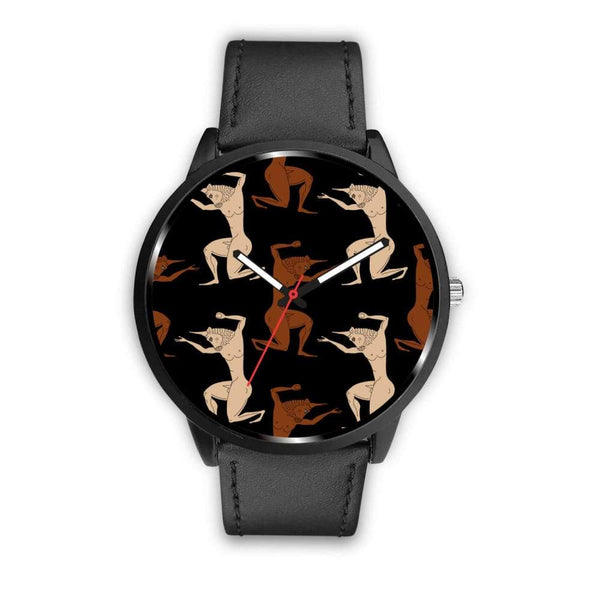 Minotaur Ancient Greek Beast Repeated Pattern Custom-Designed Wrist Watch - Mens 40Mm / Black - Watch