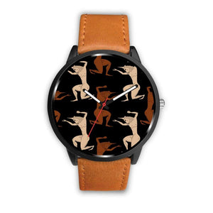 Minotaur Ancient Greek Beast Repeated Pattern Custom-Designed Wrist Watch - Mens 40Mm / Brown - Watch