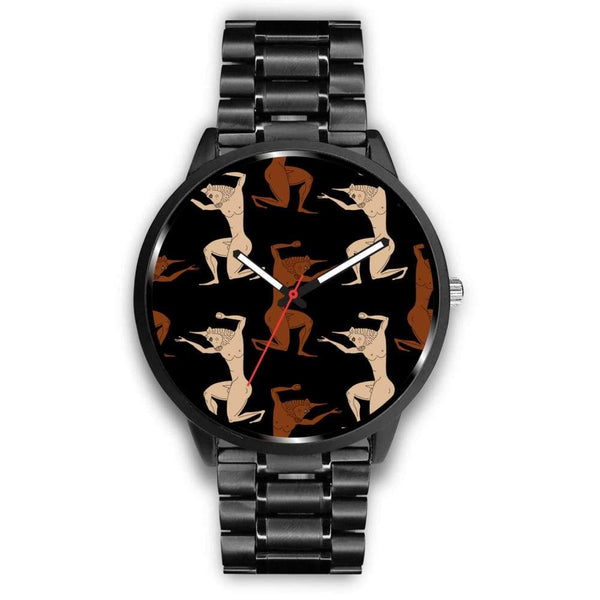 Minotaur Ancient Greek Beast Repeated Pattern Custom-Designed Wrist Watch - Mens 40Mm / Metal Link - Watch