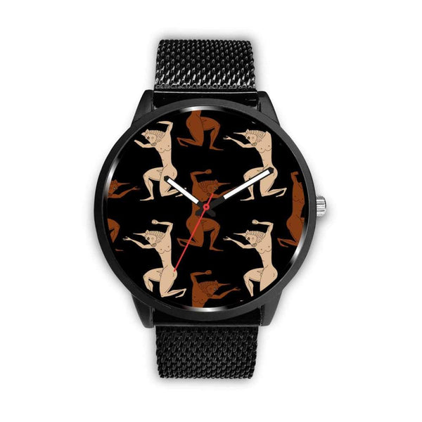 Minotaur Ancient Greek Beast Repeated Pattern Custom-Designed Wrist Watch - Mens 40Mm / Metal Mesh - Watch