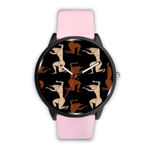 Minotaur Ancient Greek Beast Repeated Pattern Custom-Designed Wrist Watch - Mens 40Mm / Pink - Watch
