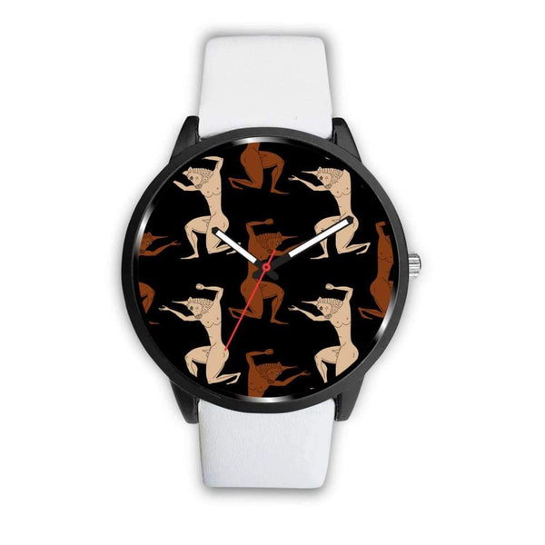 Minotaur Ancient Greek Beast Repeated Pattern Custom-Designed Wrist Watch - Mens 40Mm / White - Watch