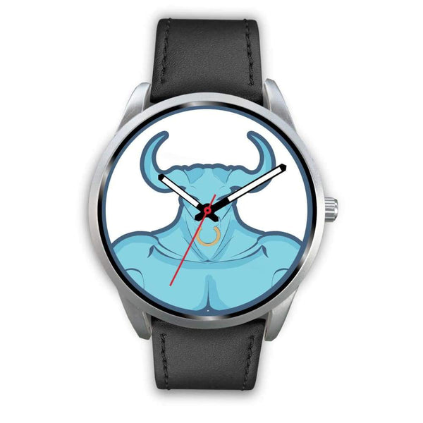 Minotaur Greek Legend Myth Symbol Custom-Designed Wrist Watch - Mens 40Mm / Black Leather - Silver Watch