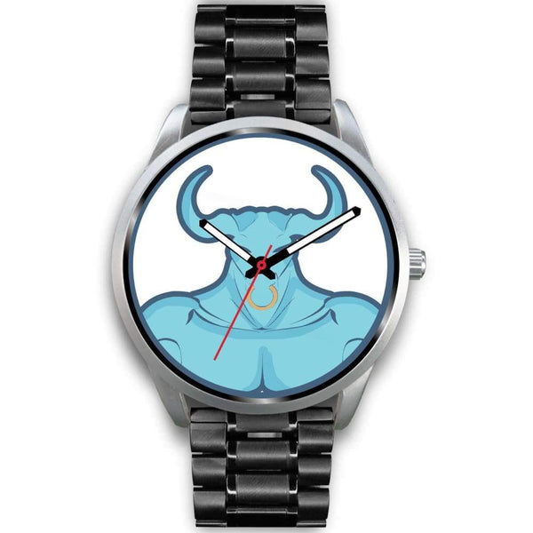 Minotaur Greek Legend Myth Symbol Custom-Designed Wrist Watch - Mens 40Mm / Black Metal Link - Silver Watch