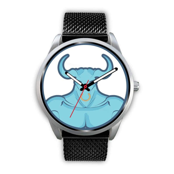 Minotaur Greek Legend Myth Symbol Custom-Designed Wrist Watch - Mens 40Mm / Black Metal Mesh - Silver Watch