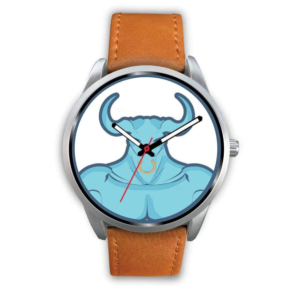 Minotaur Greek Legend Myth Symbol Custom-Designed Wrist Watch - Mens 40Mm / Brown Leather - Silver Watch