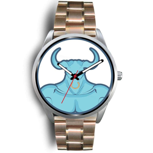 Minotaur Greek Legend Myth Symbol Custom-Designed Wrist Watch - Mens 40Mm / Rose Gold Metal Link - Silver Watch