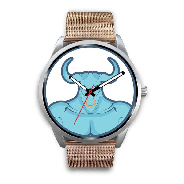 Minotaur Greek Legend Myth Symbol Custom-Designed Wrist Watch - Mens 40Mm / Rose Gold Metal Mesh - Silver Watch