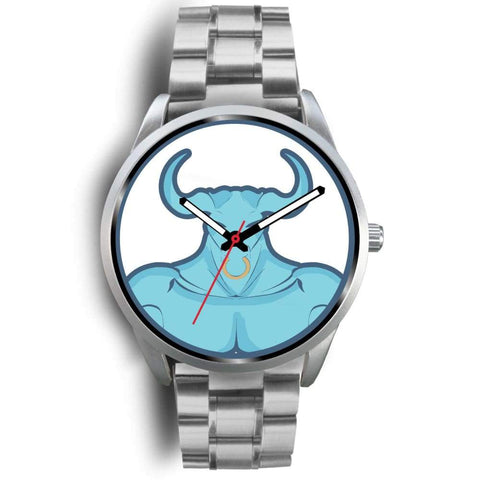 Minotaur Greek Legend Myth Symbol Custom-Designed Wrist Watch - Mens 40Mm / Silver Metal Link - Silver Watch