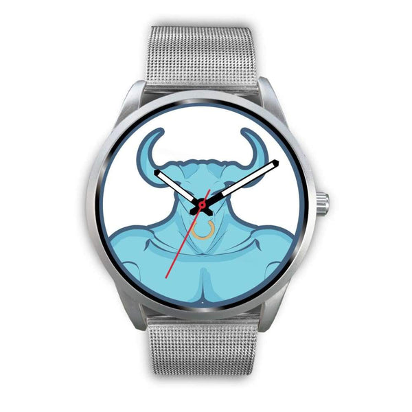 Minotaur Greek Legend Myth Symbol Custom-Designed Wrist Watch - Mens 40Mm / Silver Metal Mesh - Silver Watch