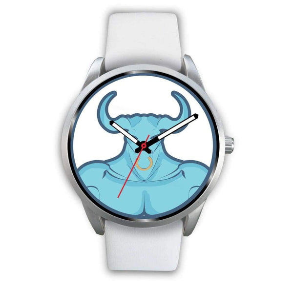 Minotaur Greek Legend Myth Symbol Custom-Designed Wrist Watch - Mens 40Mm / White Leather - Silver Watch