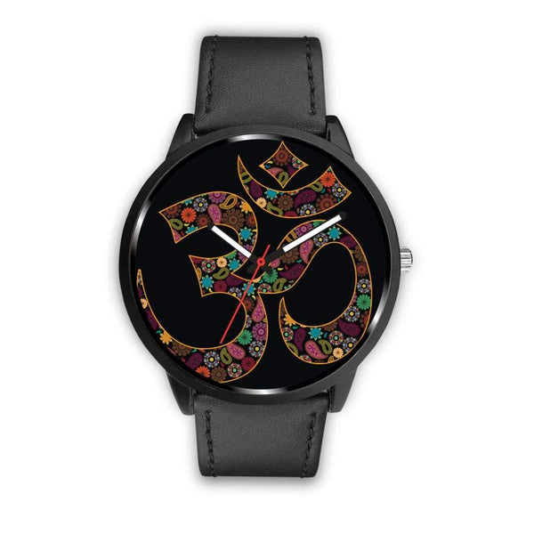Om Buddhist Symbol Yoga Lotus Flower Design Custom-Designed Wrist Watch - Mens 40Mm / Black - Watch