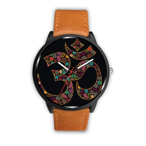 Om Buddhist Symbol Yoga Lotus Flower Design Custom-Designed Wrist Watch - Mens 40Mm / Brown - Watch