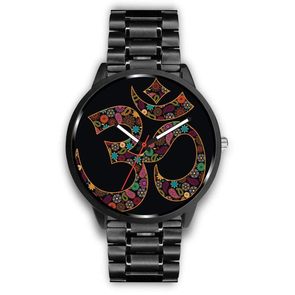 Om Buddhist Symbol Yoga Lotus Flower Design Custom-Designed Wrist Watch - Mens 40Mm / Metal Link - Watch