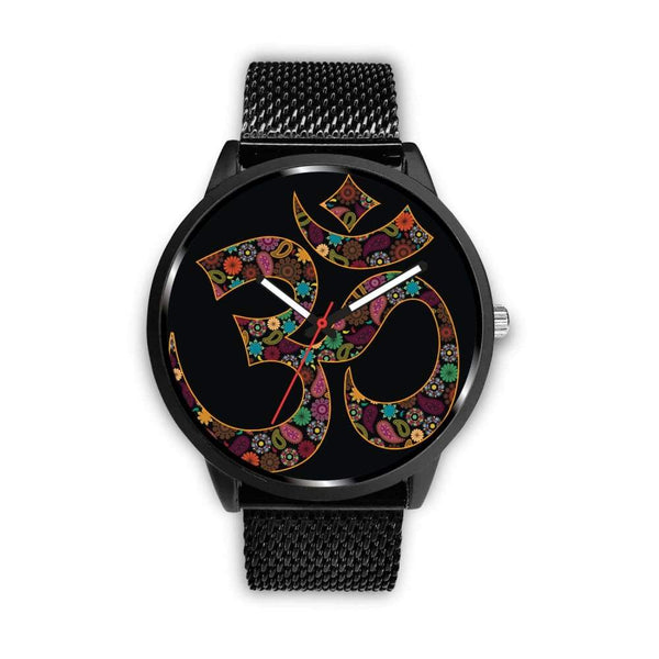 Om Buddhist Symbol Yoga Lotus Flower Design Custom-Designed Wrist Watch - Mens 40Mm / Metal Mesh - Watch
