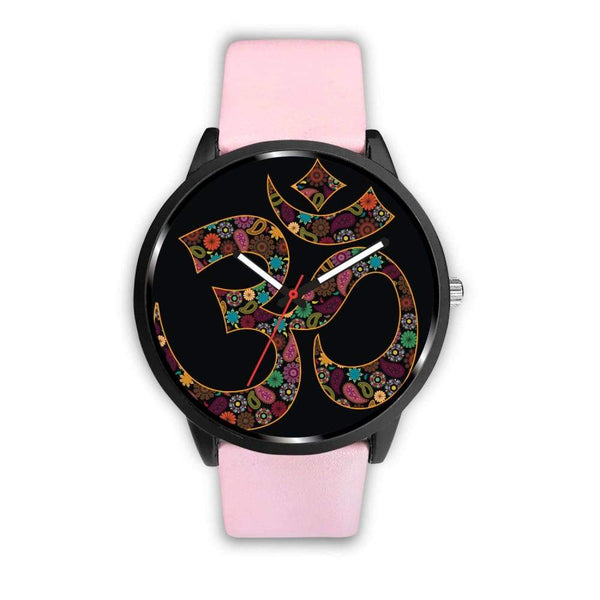 Om Buddhist Symbol Yoga Lotus Flower Design Custom-Designed Wrist Watch - Mens 40Mm / Pink - Watch