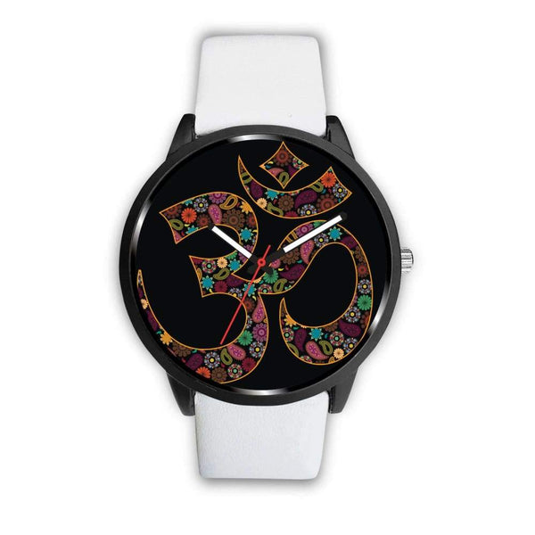 Om Buddhist Symbol Yoga Lotus Flower Design Custom-Designed Wrist Watch - Mens 40Mm / White - Watch