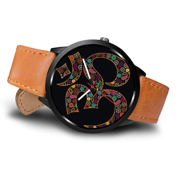 Om Buddhist Symbol Yoga Lotus Flower Design Custom-Designed Wrist Watch - Watch