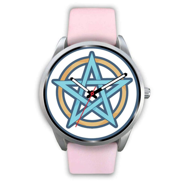Pentagram Pentacle Wiccan Pagan Symbol Custom-Designed Wrist Watch - Mens 40Mm / Pink Leather - Silver Watch