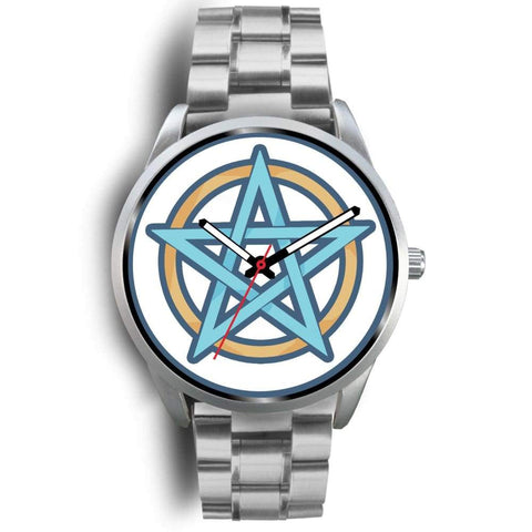 Pentagram Pentacle Wiccan Pagan Symbol Custom-Designed Wrist Watch - Mens 40Mm / Silver Metal Link - Silver Watch