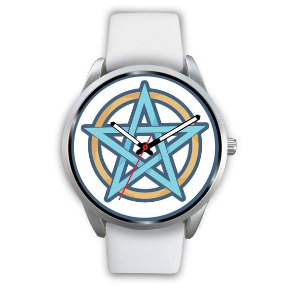 Pentagram Pentacle Wiccan Pagan Symbol Custom-Designed Wrist Watch - Mens 40Mm / White Leather - Silver Watch