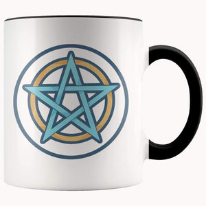 Pentagram Pentacle Wiccan Spiritual Symbol 11Oz. Ceramic White Mug - Black - Drinkware