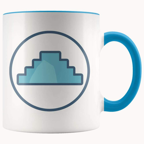 Primordial Hill Ancient Egyptian Symbol 11Oz. Ceramic White Mug - Blue - Drinkware