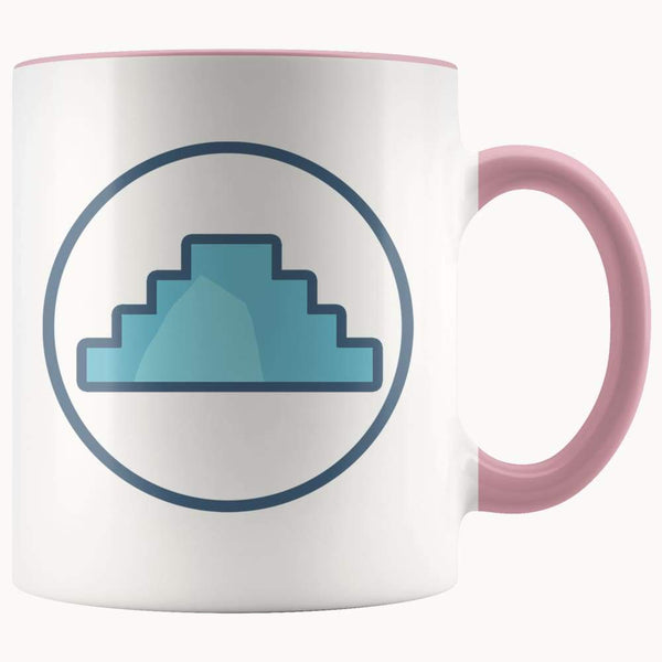 Primordial Hill Ancient Egyptian Symbol 11Oz. Ceramic White Mug - Pink - Drinkware