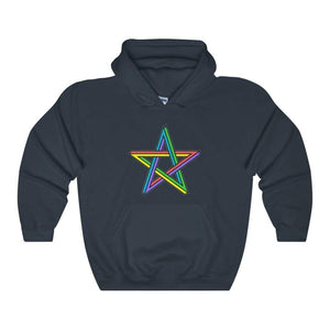 Rainbow Pentagram Pentacle Wiccan Pagan Symbol Unisex Heavy Blend Hooded Sweatshirt - Navy / L - Hoodie