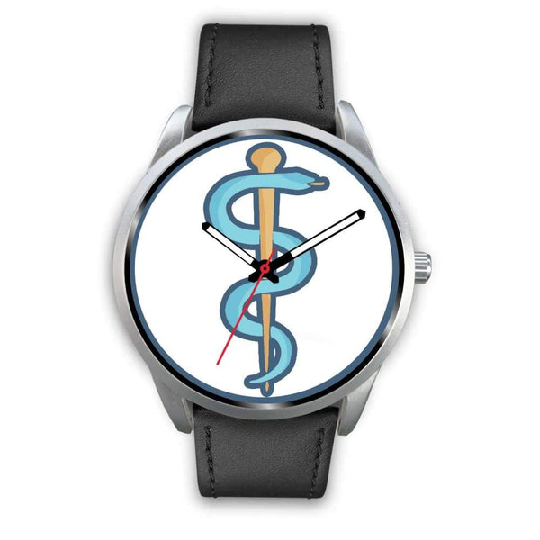 Rod Of Asclepius Ancient Greek Symbol Custom-Designed Wrist Watch - Mens 40Mm / Black Leather - Silver Watch
