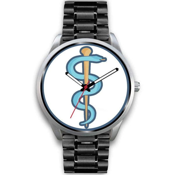 Rod Of Asclepius Ancient Greek Symbol Custom-Designed Wrist Watch - Mens 40Mm / Black Metal Link - Silver Watch