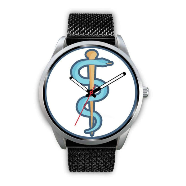 Rod Of Asclepius Ancient Greek Symbol Custom-Designed Wrist Watch - Mens 40Mm / Black Metal Mesh - Silver Watch