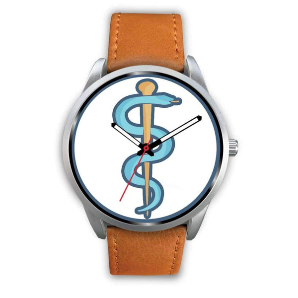 Rod Of Asclepius Ancient Greek Symbol Custom-Designed Wrist Watch - Mens 40Mm / Brown Leather - Silver Watch