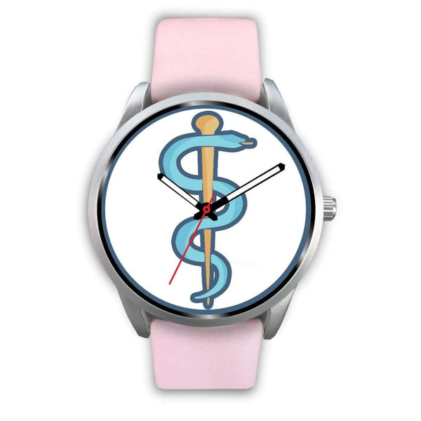 Rod Of Asclepius Ancient Greek Symbol Custom-Designed Wrist Watch - Mens 40Mm / Pink Leather - Silver Watch