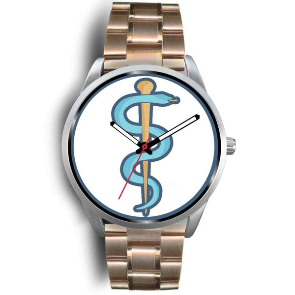 Rod Of Asclepius Ancient Greek Symbol Custom-Designed Wrist Watch - Mens 40Mm / Rose Gold Metal Link - Silver Watch