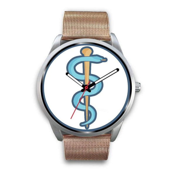 Rod Of Asclepius Ancient Greek Symbol Custom-Designed Wrist Watch - Mens 40Mm / Rose Gold Metal Mesh - Silver Watch