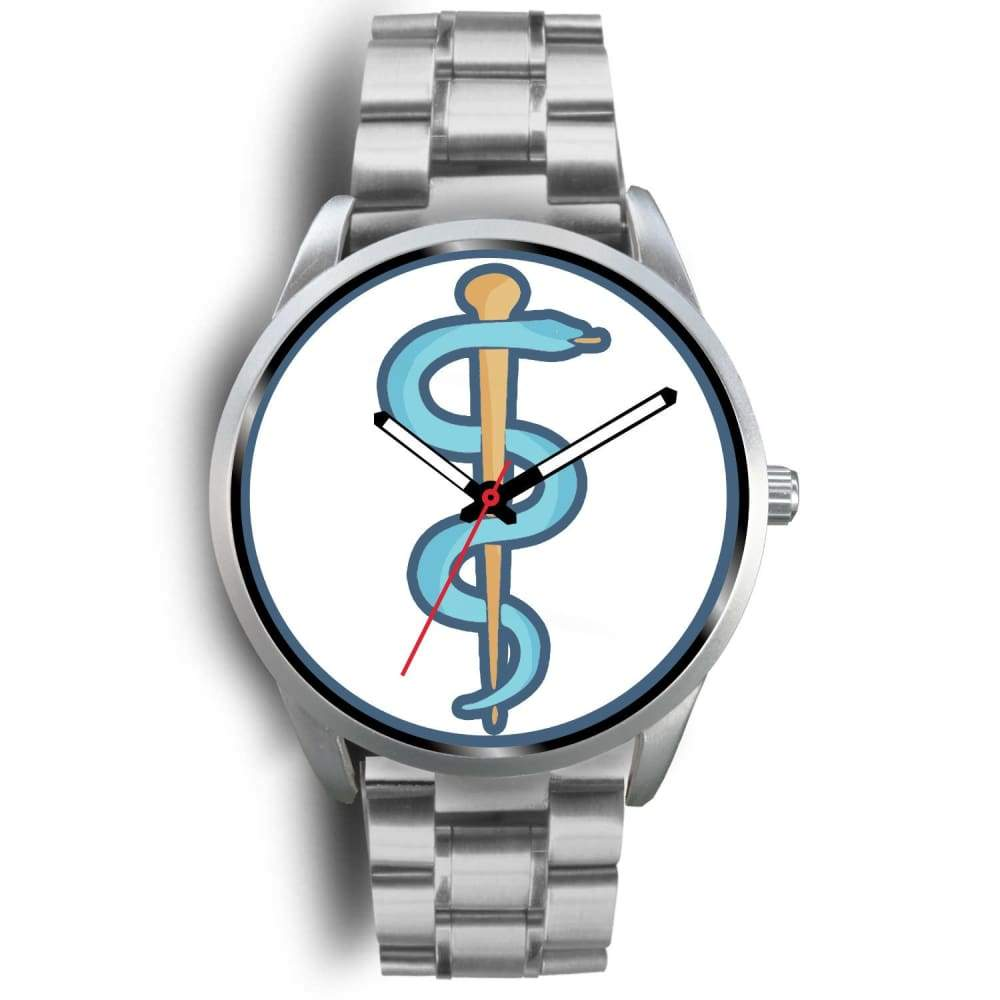 Rod Of Asclepius Ancient Greek Symbol Custom-Designed Wrist Watch - Mens 40Mm / Silver Metal Link - Silver Watch